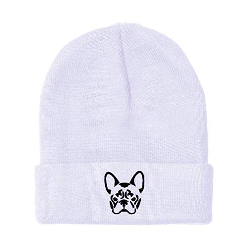Custom Beanie for Men & Women French Bulldog Silhouette Embroidery Acrylic Skull Cap Hat White Design Only