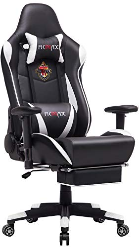 Ficmax Massage Gaming Chair Reclining Computer Gaming Chair with Footrest Racing Style Home Office Chair High Back Gamer Chair for E-sport Large Size Gaming Desk Chair with Headrest and Lumbar Support