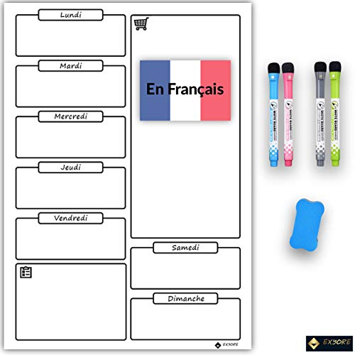 Whiteboard, magnetisch, weekoverzicht, afwasbaar, voor koelkast, keuken, markers, magnetisch, ideaal voor het plannen…