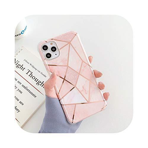 Funda de teléfono de mármol geométrico de lujo para iPhone 11 12 mini Pro Max XS X XR 7 8 Plus SE 2020 silicona suave a prueba de golpes Carcas-03-para iPhone 12 mini