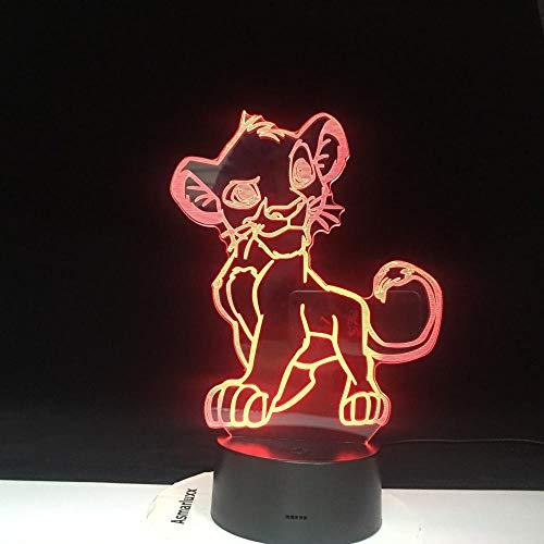 Lampe d'illusion 3D Led veilleuse Cartoon Le Roi Lion Simba Changement de Couleur Lumière Nouveauté Chambre Pour La Maison Cadeau De Noël