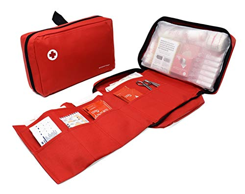 Trousse de Premier Secours Travel composée de 85 Articles Essentiels pour Les Cures d'urgence (povidone, Serum physiologique, sterile apparents.)