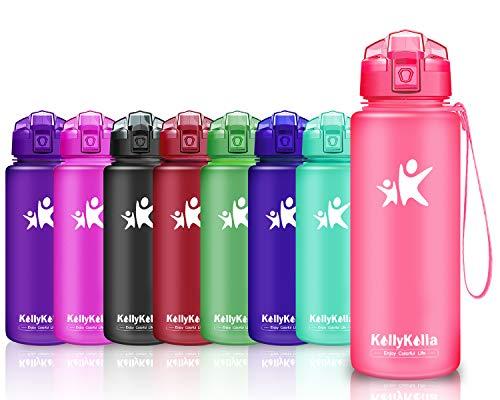 KollyKolla Botella de Agua Deporte, Botellas Sin BPA Tritan Plástico Reutilizables Ecológica con Filtro, Water Bottle para Niños & Adultos, Gimnasio, Yoga, Oficina, Colegio (1L Rosa Mate)