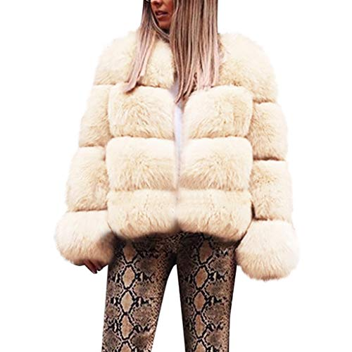 GODDOIT Damen Kunstpelz Mantel Verdicken Pelzmantel Flaumig Warme Outwear Elegant Winter