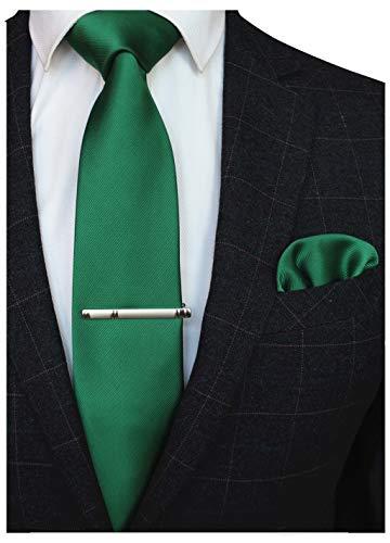 JEMYGINS Krawatte Seide Grün Krawatten und Einstecktuch mit krawattenklammer Set für Herren Seidenkrawatten Hochzeit Schlips (12)