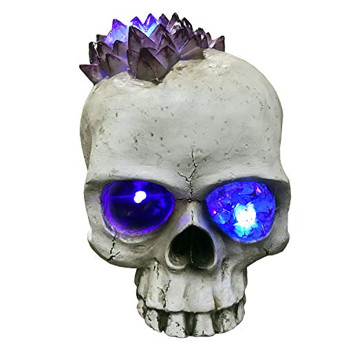 Lightahead Halloween 7.5' Scary Skull with LED Light Creepy Light-Up Crystal Eye and Glowing Popping Brains for Halloween Decoration Party Home Décor