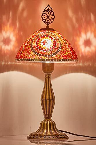 Demmex 2019 mosaicos turcos marroquíes mesita de noche estilo Tiffany lámpara para uso en Estados Unidos, rojo