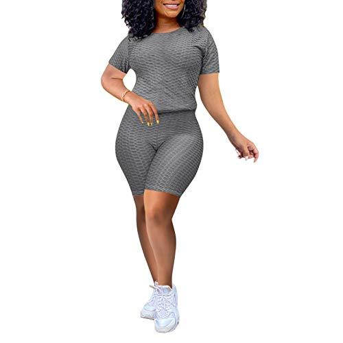 Conjunto de ropa deportiva de yoga para mujer, manga corta, cuello redondo, camiseta y pantalones cortos de dos piezas, gris, S