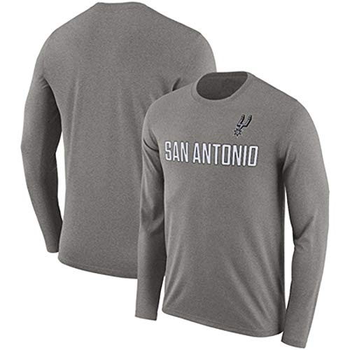 Gflyme Herren Trikot Lakers Langarm-T-Shirt Männliche Studenten und Winter Neuer Baumwollsport Hemd grundiert NBA Basketball Out Trainingsanzug (Color : Light Gray F, Size : XL)