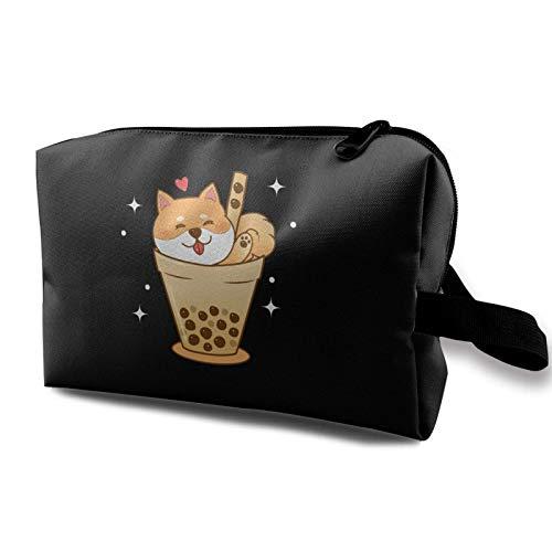 Hdadwy Make-up-Tasche Shiba Inu in Bubble Tea Tasse Tragbare Kosmetiktasche Reise-Tolietry-Tasche Große Make-up-Tasche wasserdichte Organizer-Tasche für Frauen Mädchen