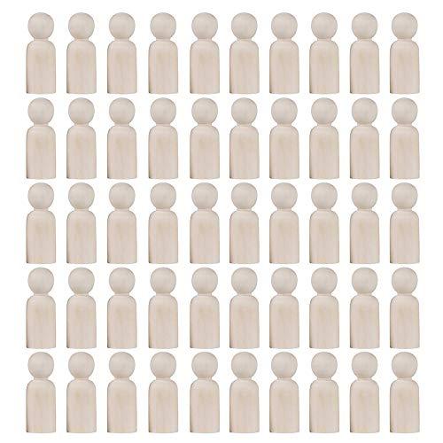 Furado 50 Stück Holzfiguren Puppen, Holz Familie Figuren, DIY Holz Puppen Krippenfiguren Spielfiguren natürliche Holzfiguren Hochzeit für Geburtstag Dekoration Bemalen Basteln