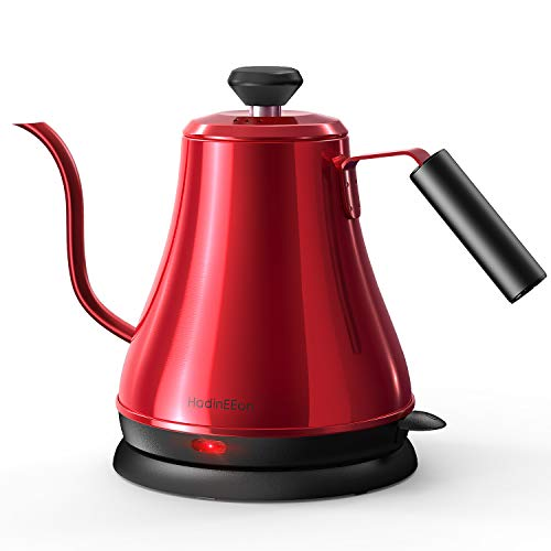 HadinEEon Electric Gooseneck Kettle 100% Stainless Steel BPA-Free Tea Kettle, Electric Pour Over Coffee Kettle Pot Portable Cordless Teapot with Auto Shut-Off Protection, 1000 Watt, 0.8L- Red