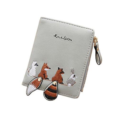 Diyafas Schöne Damen Portemonnaie PU Leder Kurz Reißverschluss Geldbörse Mädchen Kleine Kartenhalter Brieftasche Münze Tasche