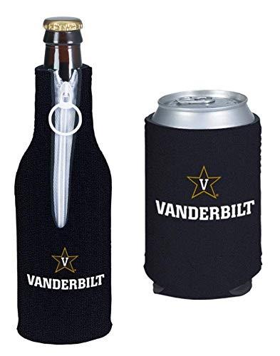 College Team Color Logo Can & Bottle Holder Insulator Beverage Cooler Set (Vanderbilt Commodores)