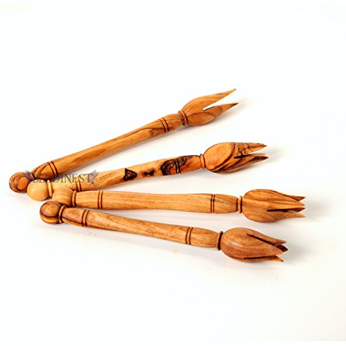 Gift Idea Sale! Cocktail Forks - Handcrafted Party Snack Pickers, Hand Carved Olive Wood Set of 4 Wooden Olive Forks, Olive Pickers Cheese Forks