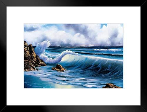 Poster Gießerei Bob Ross Surfs up Kunstdruck Gemälde von proframes 20x26 inches Matted Framed Poster
