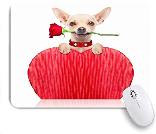 Gaming mouse pad,Chihuahua mouth dog heart humor holding red rose animals wildlife holidays nonslip rubber backing mousepad for notebooks computers mouse mats