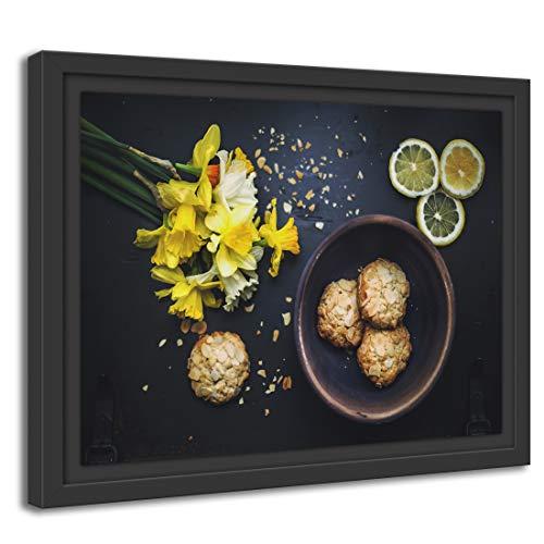 Printed Paintings Schattenfugenrahmen (100x70cm): Wandbild Küchendeko Kekse Mandelsplitter gelbe