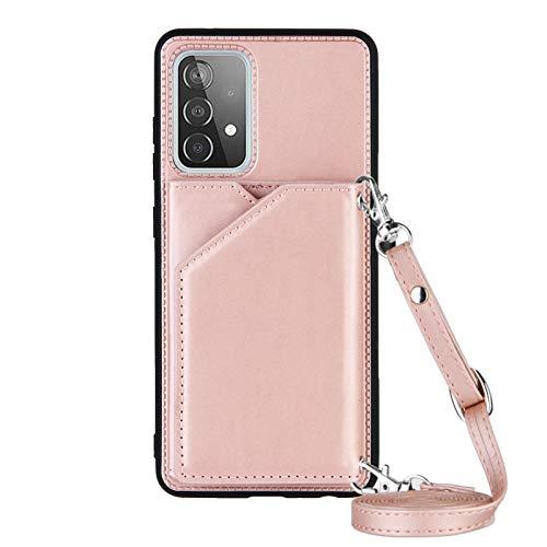 Lanyard Brieftasche Kreditkartenetui Handyhülle für Samsung Galaxy A52 5G (Roségold)