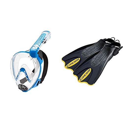 Cressi Duke Dry Full Face Mask Mascara de Buceo Snorkel Seca Cara Completa, Unisex Adulto, Transparent/Azul, M/L + Palau SAF Aletas, Unisex, Negro/Amarillo, M-L (41-44)