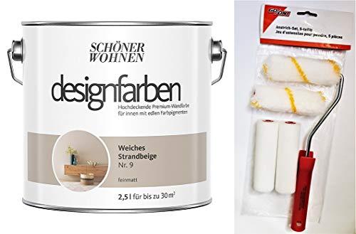 Schöner Wohnen designfarben feinmatte Wandfarbe für innen 2,5 Liter mit go/on Rollen-Set 5-tlg (Nr 9 Weiches Strandbeige)