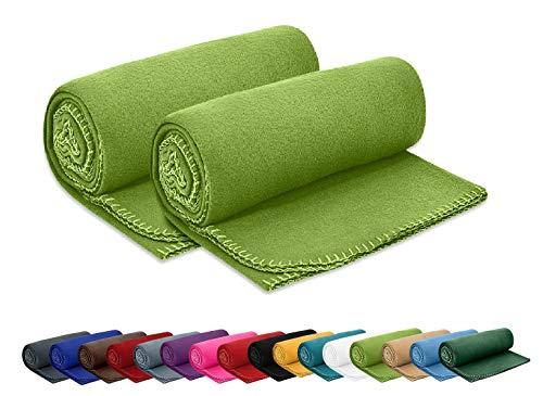 2er Set Polar Fleecedecke OekoTex 130x160 cm ca. 400g schwer mit Anti-Pilling und Kettelrand grün grasgrün, weitere Farben erhältlich