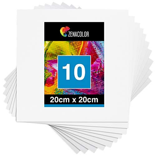 Zenacolor - Set de 10 Canvas - Lienzos para Pintar 20x20cm - Todos los Tipos de Pintura sobre Tela - 100% Algodón sin Ácidos