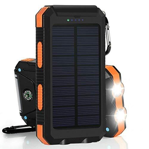 Banco De La EnergíA Solar, Cargador De BateríA Externo PortáTil Del Banco 10000Mah De La EnergíA Solar Impermeable 2021 (Naranja)