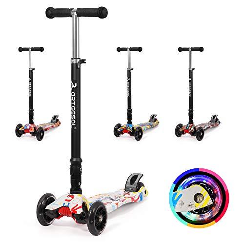 arteesol kinderscooter, Faltbarer urbaner Scooter Tretroller, höhenverstellbarer Roller mit Graffiti Deck, mit 125mm PU blitzrädern, geeignet für Jungen und mädchen von 2-16 Jahren (Bunte Graffiti)