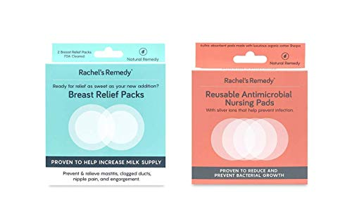 Rachel's Remedy Breastfeeding Essentials Pack, Antimicrobial Nursing Pads and Breast Relief Packs, Reusable, Relieve and Prevent Discomfort