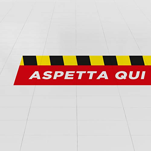 Kit 5 adesivi per pavimento per la sicurezza - Adesivi ASPETTA QUI per la segnaletica da terra (Righe)