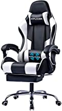 GTPLAYER Gaming Chair,Computer Chair with Footrest and Lumbar Massager, Height Adjustable Gaming Chair with 360°-Swivel Seat and Headrest for Office or Gaming(White)