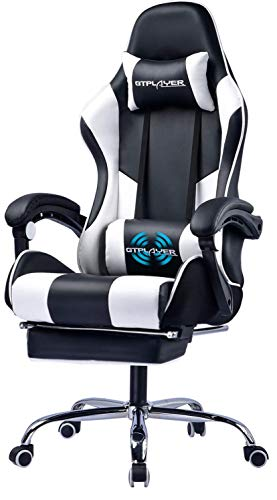 GTPLAYER Gaming Chair with Footrest Ergonomic Massage Office Chair for Adults Adjustable Swivel Leather Computer Chair High Back Desk Chair with Headrest and Massager Lumbar Support, White