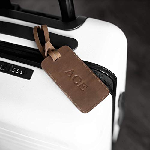 Personalized Leather Luggage Tag | Monogrammed with Custom Initials | Brown, Black, or Red | 4.5' x 2.5' + 7.5' Attachment Strap | Great Gift | Made In USA