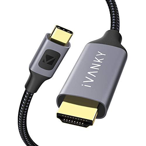 IVANKY Cavo USB C a HDMI【4K@60Hz Nylon Intrecciato】Cavo USB Type C a HDMI , Thunderbolt 3 Compatibile per MacBook Pro, Surface Book 2, Samsung S9/S8, monitor, proiettore e altri - 2M