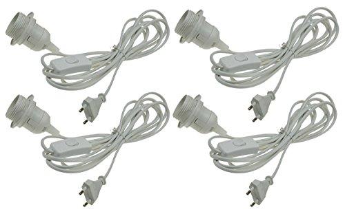Netsnoer met schakelaar 3,4 m kabel schroef fitting met montagering voor hanglamp lampenkap