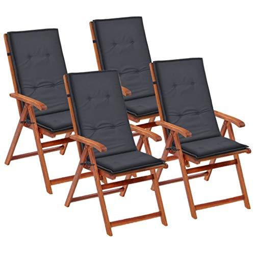 vidaXL 4X Gartenstuhl Auflage für Hochlehner Kissen Sitzkissen Stuhlkissen Polster Stuhlauflage Sitzauflagen Sitzpolster Anthrazit 120x50x3cm