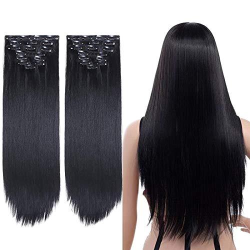 2 Packungen 8 teiliges Set Clip in Extensions Lange Gerade Vollen Kopf Clip in Haarverlängerungen 8 Stücke 17 Clips Weiche Dicke Synthetische Haarverlängerung Haarteil für Frauen (24 zoll, Schwarz)