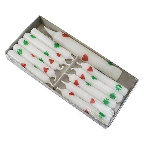 OLShop AG 2er Pack Geburtstagskerzen mit Lebenslicht weiß mit Herzen und Kleeblättern, 11 Kerzen/Pack, Kerzen für Holzkranz, Kerzen für Geburtstagszug