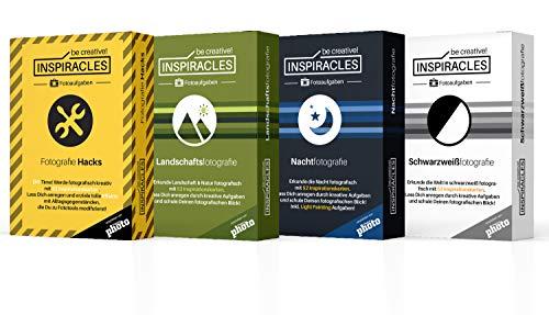 Foto Aufgaben 4er Set - Inspiration & Fotografieren Lernen mit 4 x 52 Aufgabenkarten, Editionen: Nachtfotografie, Fotohacks, Landschaftsfotografie, Schwarzweiß, in Pappschachteln