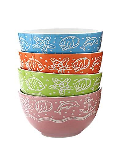 Bol Ménage bol à manger 4 Pack bol personnalisé pour enfants ensemble créatif bol à soupe en céramique bol à bouillie (taille: 11.6X6.3cm)
