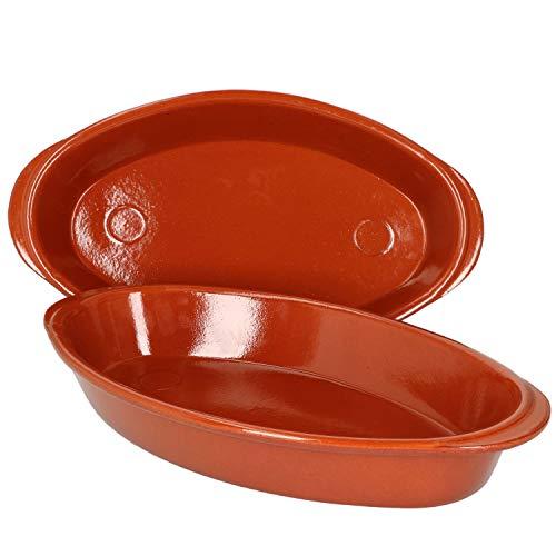 MamboCat 2er Set ovale Auflaufform aus Ton 33x19cm I Schale 1 Liter Keramik Schüssel mit Griff I mediterranes Kochen mit der Backofen Kasserolle I Ofen Form zum Brot backen I Antik Geschirr Set
