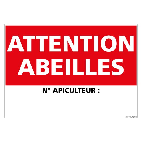 Panneau Attention aux Abeilles Personnalisable N° Apiculteur - Double Face Autocollant au Dos + Protection Anti-UV - Dimensions 210x300 mm - Plastique Rigide PVC 1,5 mm