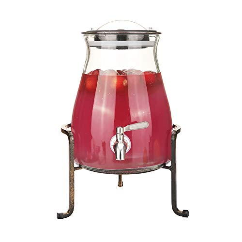 Hyxqyjp Glazen drankautomaat, 4,5 liter, met lekvrije tap, metalen standaard en deksel, koude drank, Sangria, limonade, sap