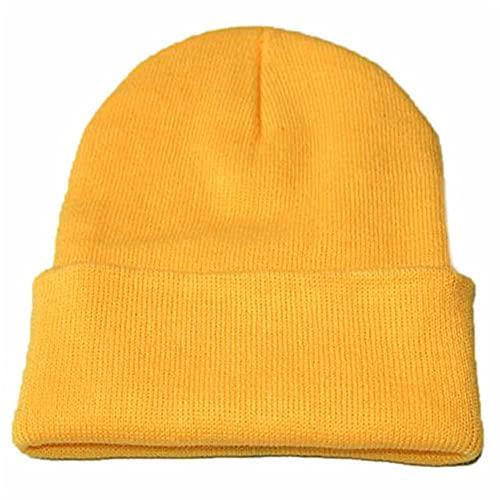 Sombrero de Punto a la Moda para Hombres y Mujeres, Mezclas de algodn, Color slido, Tejido Holgado, Gorro de Baile, Gorro de Hip Hop, Gorro Informal para Hombres y Mujeres-Yellow-1