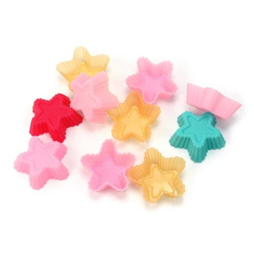 RHX Lot de 10 étoiles en forme de moule à Cake en Silicone Candy tasse Cupcake moule de cuisson Cuisine outils de bricolage