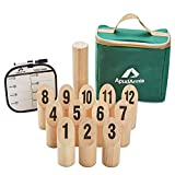 ApudArmis Wooden Pin & Skittle Games, Scatter Numbered Block Toss Games Set with Scoreboard & Carrying Case - Outdoor Tailgating Lawn Backyard Beach Game for Kids Adults Family
