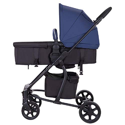 HT&PJ Baby Stroller Compact and Lightweight Stroller Can Sit, Lie Down, Foldable Shock Absorber Summer Stroller Suitable for 0-36 Months Baby, Blue