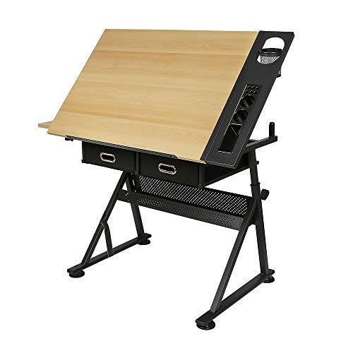 Mesa de Dibujo, Mesa de Dibujo reclinable, mesas de Dibujo Tecnico, Inclinación y Altura Regulables, con 2 cajones, Carga máxima 60KG (JZ237133)