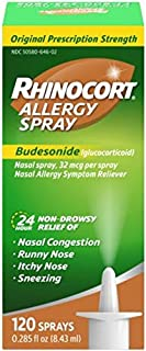 Rhinocort Allergy Nasal Spray with Budesonide Allergy Medicine, Non-Drowsy 24 Hour Relief, Prescription Strength Indoor an...